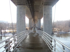 Rock Climbing Photo: Crossing the suspension bridge to Belle Isle.