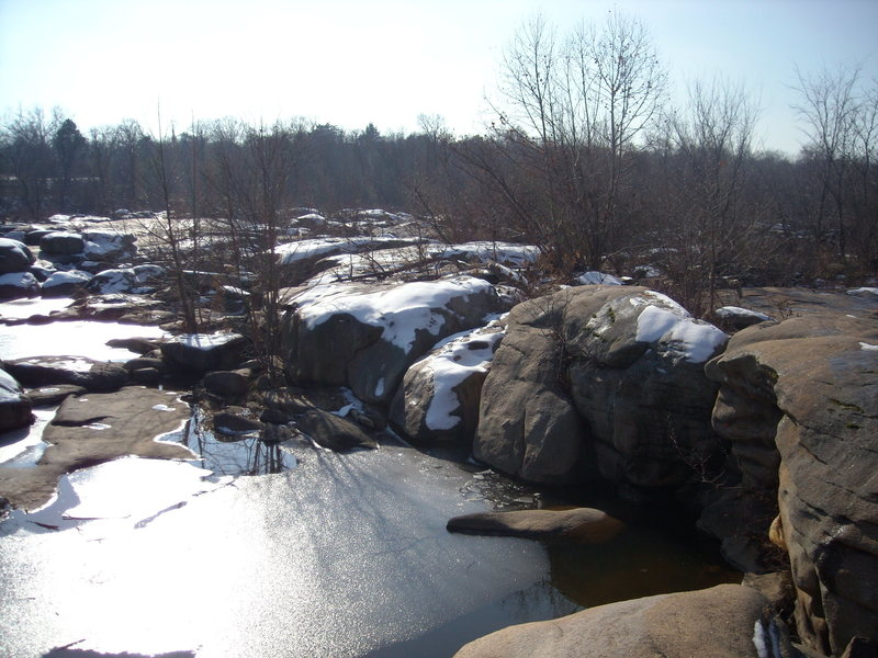 The river on the backside of the island is full of boulders like these. Depending on the water level which tends to fluctuate, there could be some potential for bouldering.