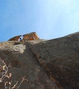 Rock Climbing Photo: Climbing through the eye.