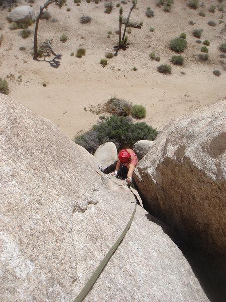 Rock Climbing Photo: Sadie coming up pitch 1.