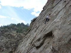Rock Climbing Photo: On easier ground above the crux slab moves.