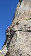 Rock Climbing Photo: Me leading Granny Goose.  photo by Myong Moon