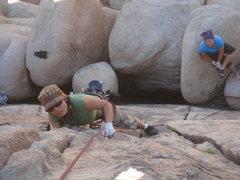 Rock Climbing Photo: Myong working her way up Almost Vertical.