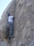 Rock Climbing Photo: Me feeling quite embarrassed.  photo by Myong Moon