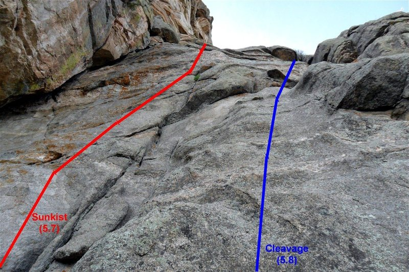 Rock Climbing Photo: Sunkist (5.7) on the left and Cleavage (5.8) on th...