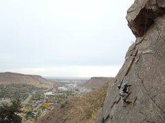 Rock Climbing Photo: Emily climbing the face.