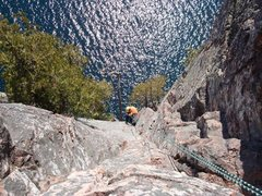 """Rock Climbing Photo: Andrea rappelling into """"Out on a Limb"""""""