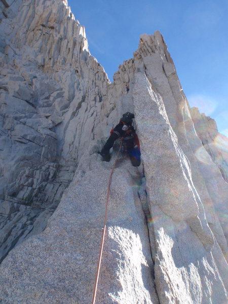 Rock Climbing Photo: Winnie leading off pitch 2