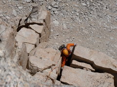 Rock Climbing Photo: Winnie following the 5.8 chimmney