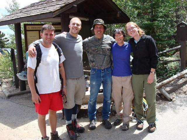 Getting back from the North Face of Longs and celebrating Jim's record breaking 351st Ascent of Longs Peak.<br> Left to Right: Beau Burris, Austin Porzak, Jim Detterline, Emily Matter, Andrea Dobbs