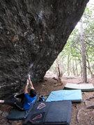 """Rock Climbing Photo: Steve Lovelace starting """"Athena"""" (V7)-(b..."""
