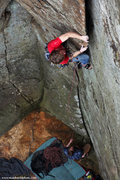 Rock Climbing Photo: Andy Hansen cruises the starting flake on Headston...
