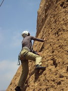 "Rock Climbing Photo: Sandy working the lower moves on ""Itsy Bitsy ..."
