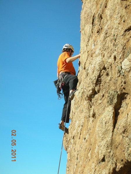 """Rock Climbing Photo: Leader on """"Boneyard."""""""