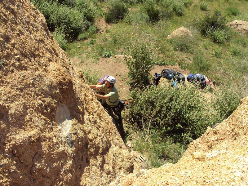 "Rock Climbing Photo: Climber at the start of ""Slotterhouse."""