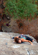 Rock Climbing Photo: Molly Chambers on route, Rachel Melville on belay....