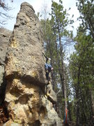 Rock Climbing Photo: JR, just past the crux