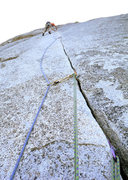 Rock Climbing Photo: Romain Wacziarg, in the business on P2 of Anti-Jel...