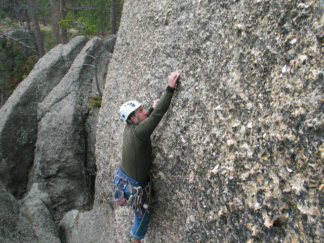 Rock Climbing Photo: JR starting Fintastic Direct. Photo by Bill Ruggie...