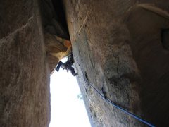 "Rock Climbing Photo: exiting the Window of Pitch 6, FFA ""Engagemen..."