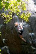 Rock Climbing Photo: Lily heel hooking in to the crux...
