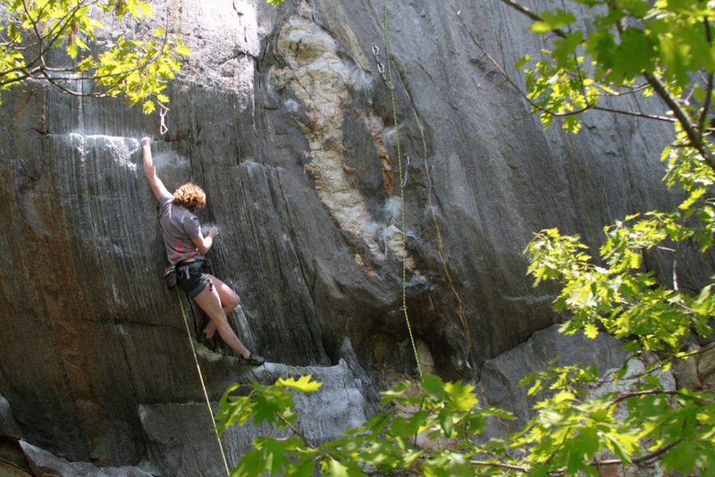 Rock Climbing Photo: lily, big reach to the ledge...