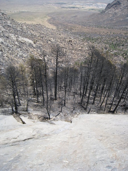 Looking down from the top of P1 (taken after the 2011 fire which destroyed the nice pine forest at the base of the route)