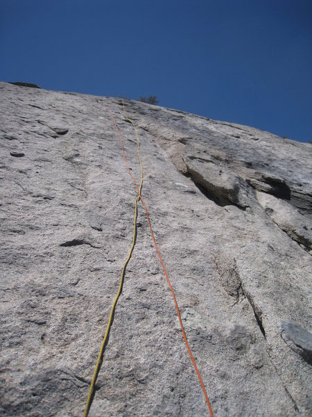 From the P1 belay, looking up at P2.