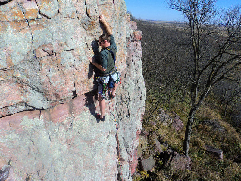 Crux section with good horizontal crack near feet for pro.