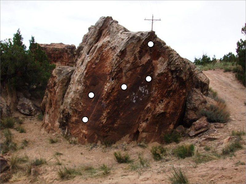 Rock Climbing Photo: Overland Flow problem on Desert Storm Boulder.