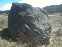 Rock Climbing Photo: North side of the boulder with the highway behind ...