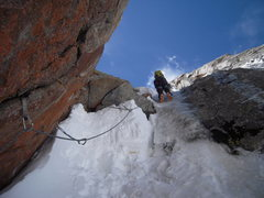 Rock Climbing Photo: Ice smear to upper gully -- the Snorkmaiden's Surp...