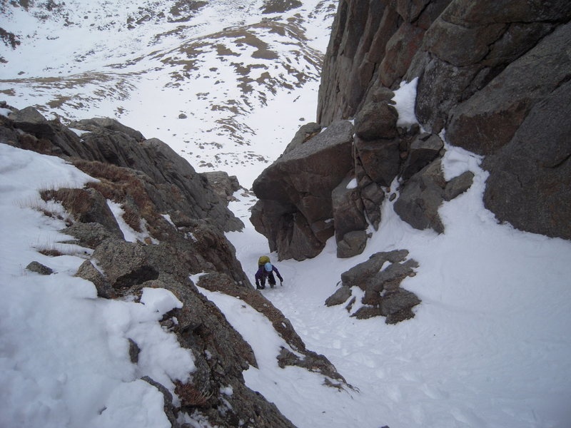 Climbing the upper gully towards the ridge.