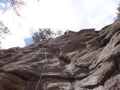 Rock Climbing Photo: April leading Midday Lightning as her first outdoo...