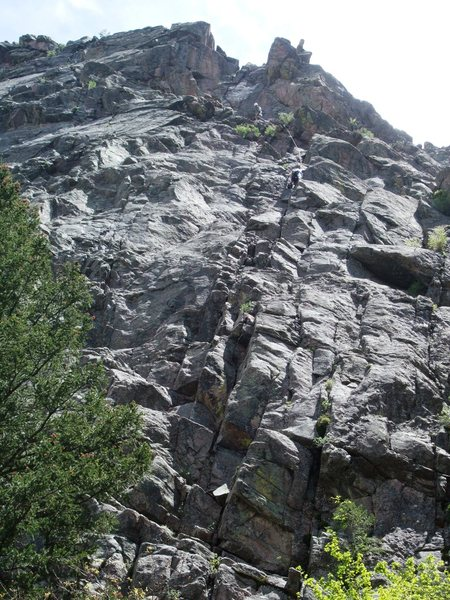 These guys are on the pitch right below the crux.  They guy belaying is not quite at the cave (bolts at the cave).