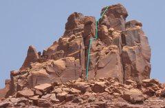 Rock Climbing Photo: South Face Right (5.9), South Six Shooter Peak, UT...
