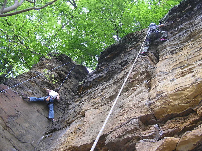 "DT on ""Potato chips""(right) and Dave on ""Black Buttress"""