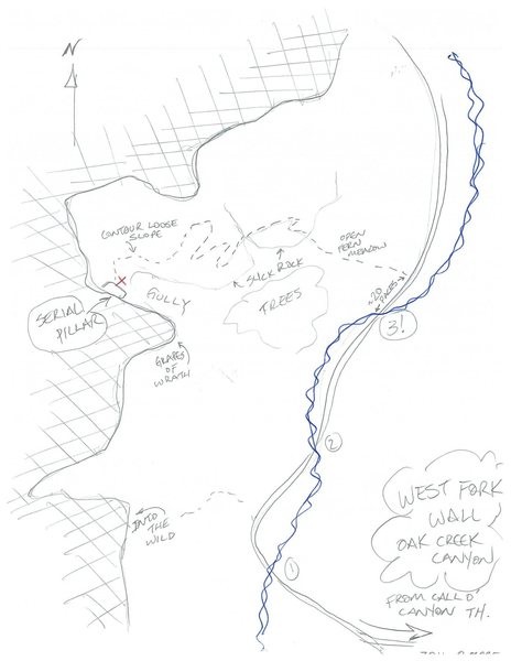 approach sketch to new route: &quot;Engagement&quot;, on the Serial Pillar, West Fork Wall, in relation to Into the Wild, and Grapes of Wrath.<br> Rough directions:<br> After the 3rd creek crossing on the Call of the Canyon trail, head west on a faint trail through the ferns. Find the weakness in the slickrock of the SECOND spur (small cairn), ascend the slickrock band, which leads to another faint trail that contours, crosses the draw, and switchbacks up the hill. It eventually contours the loose hillside level with the route and to its base.