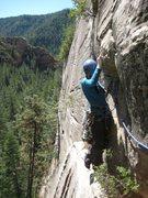 Rock Climbing Photo: Angela finishing P1 on the FFA.