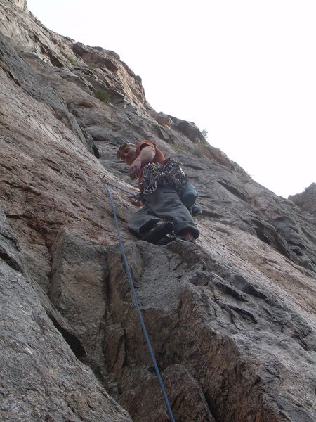 Rock Climbing Photo: Wyatt with the 1st bolt clipped on pitch 2.
