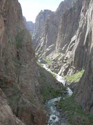 Rock Climbing Photo: Spacing out up the canyon while belaying in the mo...