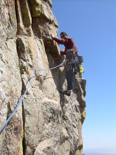 Wyatt turning the arete on pitch 5. We linked this pitch with the 5.7 gully finish