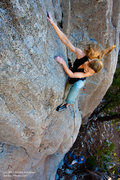 "Rock Climbing Photo: Leah Sandvoss onsighting ""Pocket Princess&quo..."
