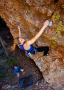 "Rock Climbing Photo: Leah Sandvoss sending ""Tecate Two-Step"" ..."
