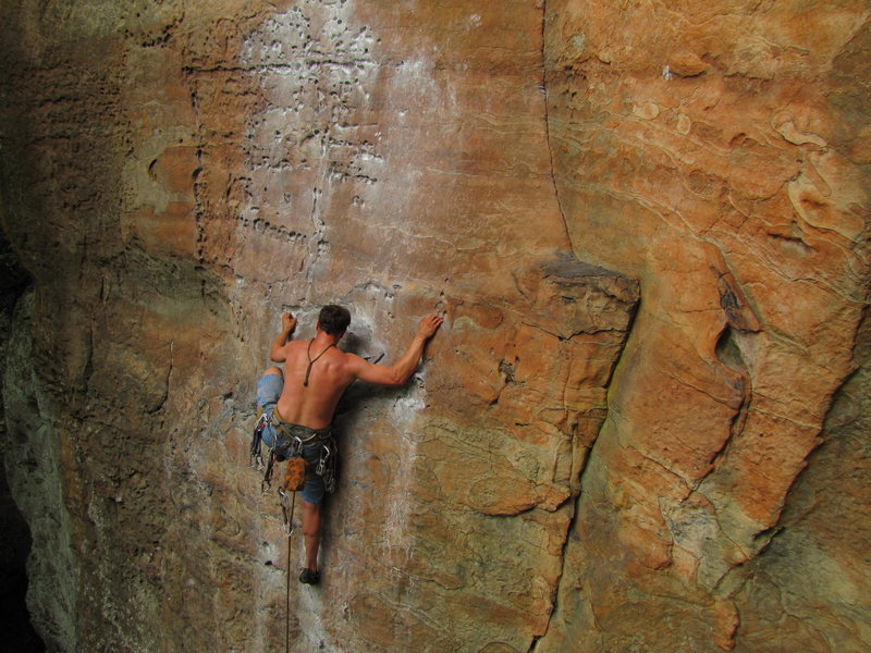 Brad B in the Red River Gorge, KY. Pic taken by Ben Kiessel.<br>