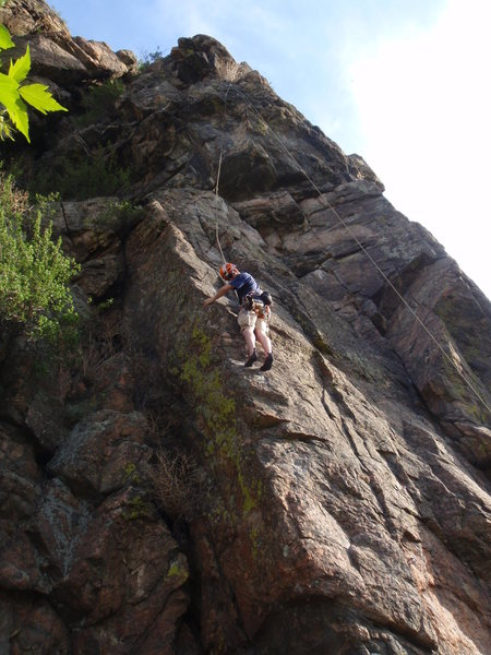 Casey working the arete.