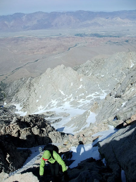 Rock Climbing Photo: looking down from the final summit tower