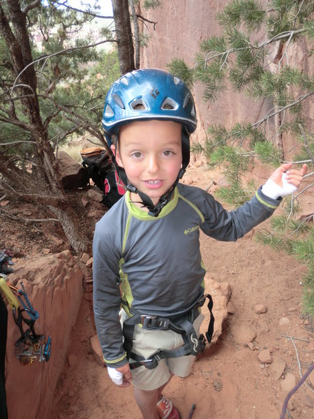 Garrett Gillest at Zappa Wall Escalante Canyon, age 5