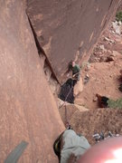 Rock Climbing Photo: Looking down Moderation, Mike Keegan belaying.