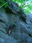 """Rock Climbing Photo: Joshua works """"Dike With a Heart"""" at Rine..."""